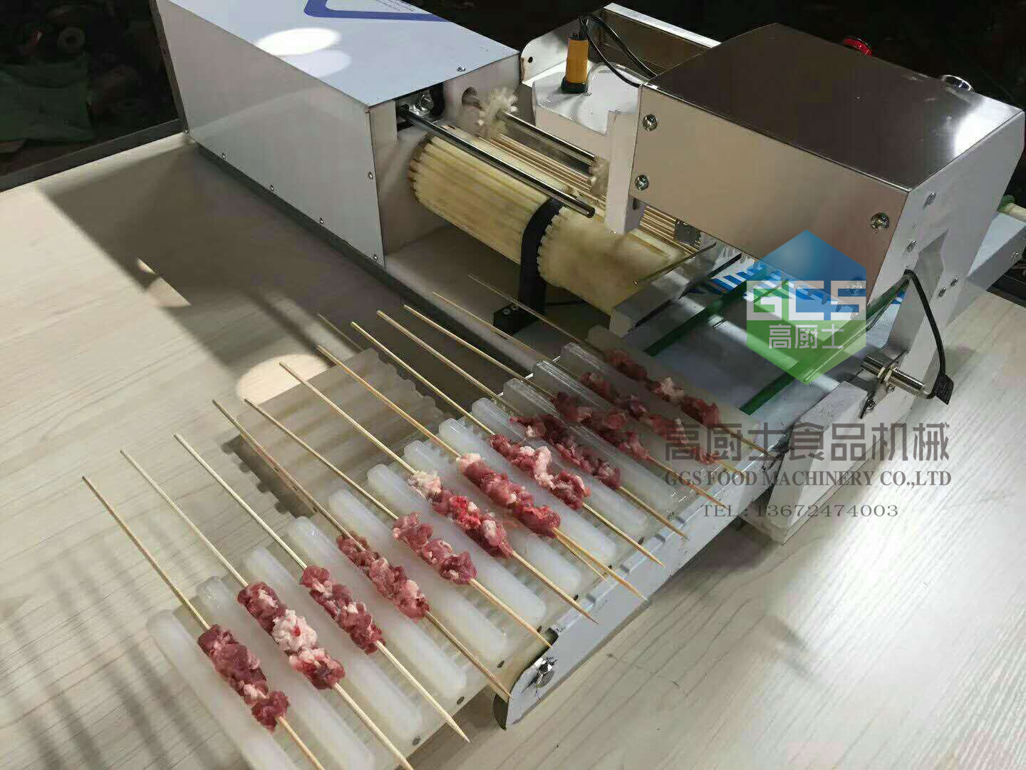 Full-Automatic Meat Wear Mutton String Machine Business BBQ Skewer Meat String Machine
