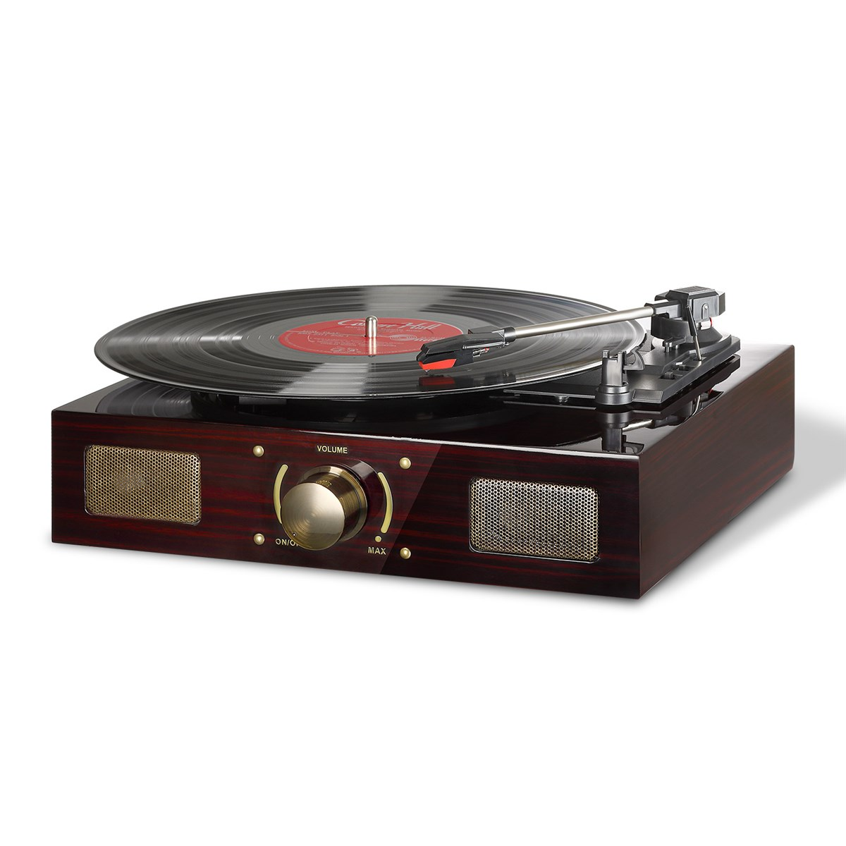 LuguLake Vinyl Record Player, Turntable with Stereo 3-Speed, RCA Output, Vintage Phonograph with High Gloss Surface