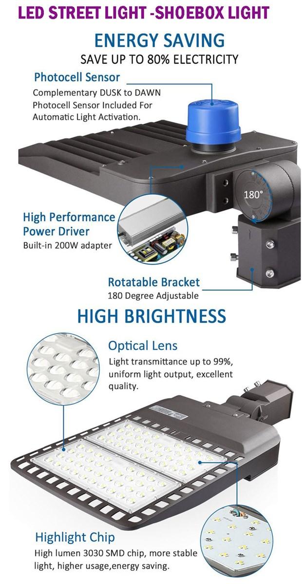 50w300w LED Shoe Box Pole Light Street Parking Lot Lighting
