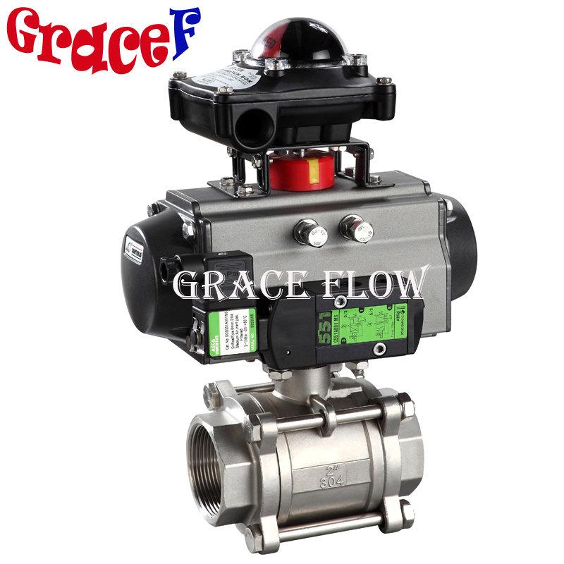 3pc Npt Stainless Steel Rotary Quarter Turn Rack & Pinion Pneumatic Ball Valve