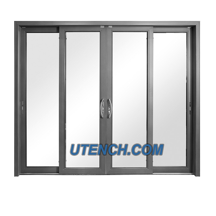 Utench Industry Aluminum Glass Sliding Door with Stainless Steel Mosquito Netting