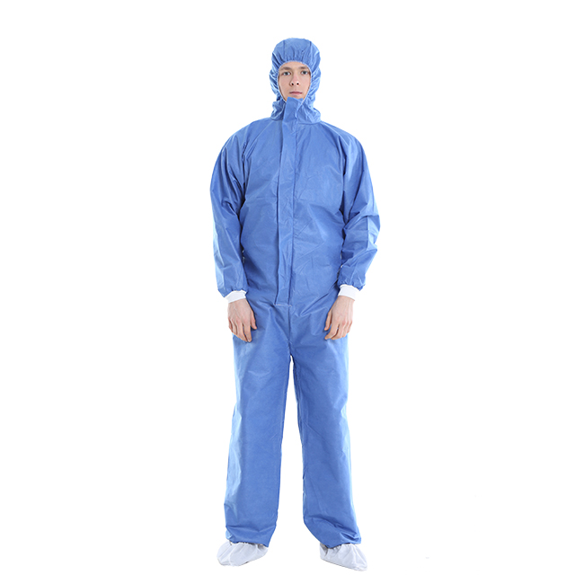 Disposable Coveralls with Hood Protective Suit Microporous Elastic Wrist Anti-Dust Ventilation Clothing White & Blue