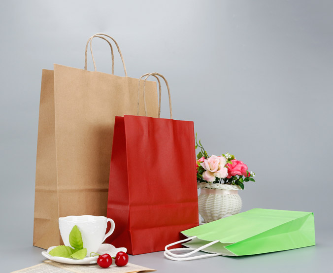 Reusable Kraft Paper Shopping Bag with Handle