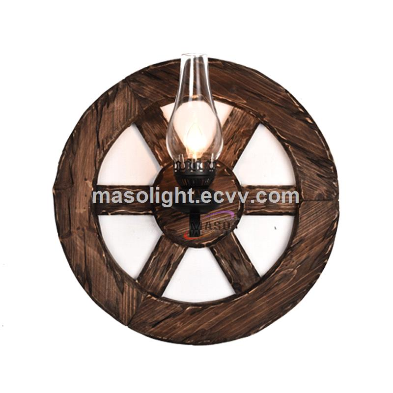 Vintage Boat Wood Steering Wheel Wooden Cycle Ring Wall Lamp Decor