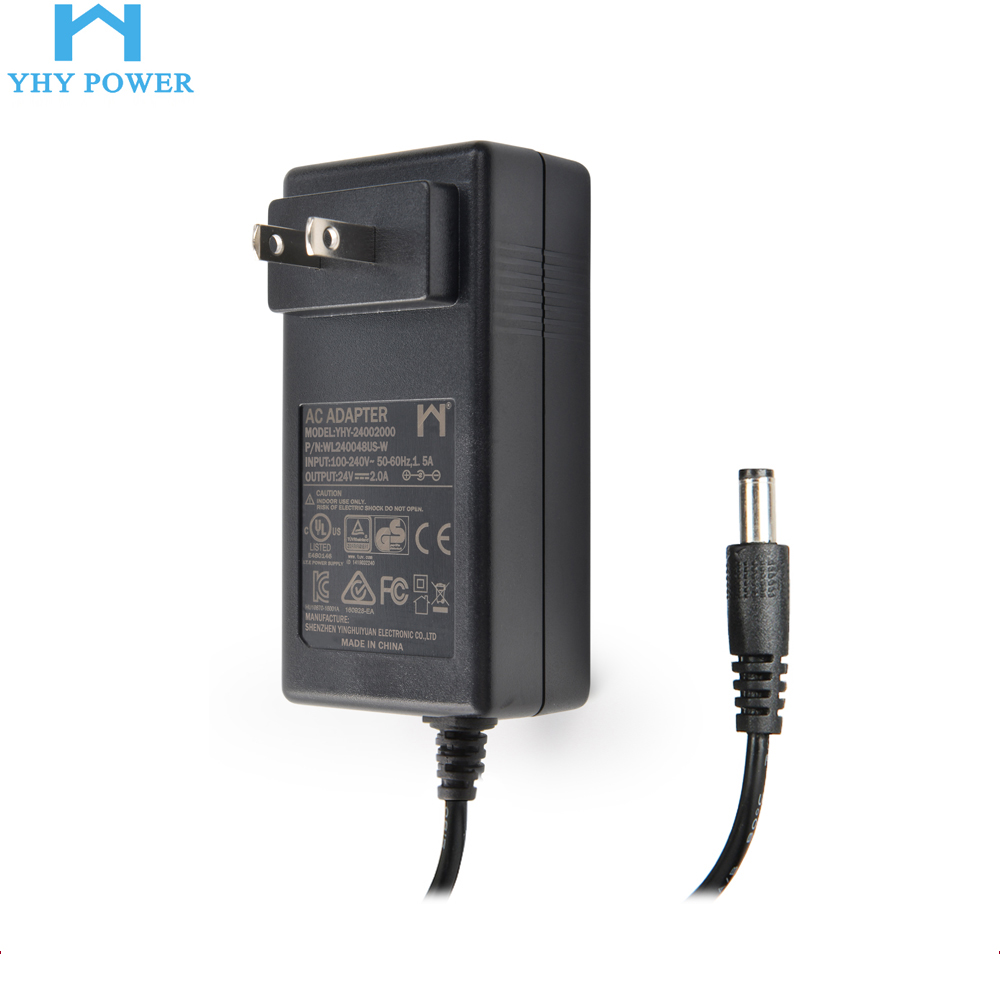 48w 24 Volt 2 Amp Wall Plug in Power Supply Adaptor AC DC Transformer 2a 24v Power Adapter