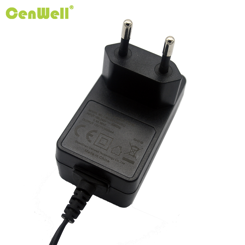 12V 1A AC DC Power Adapter EU Plug for CCTV Camera White Black Color