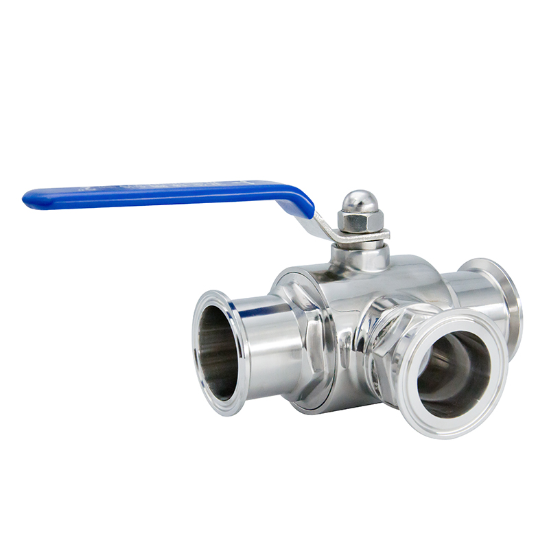 SMS 101.6mm Food Grade Stainless Steel Three Ways Ball Valves with Tri-Clover Ends