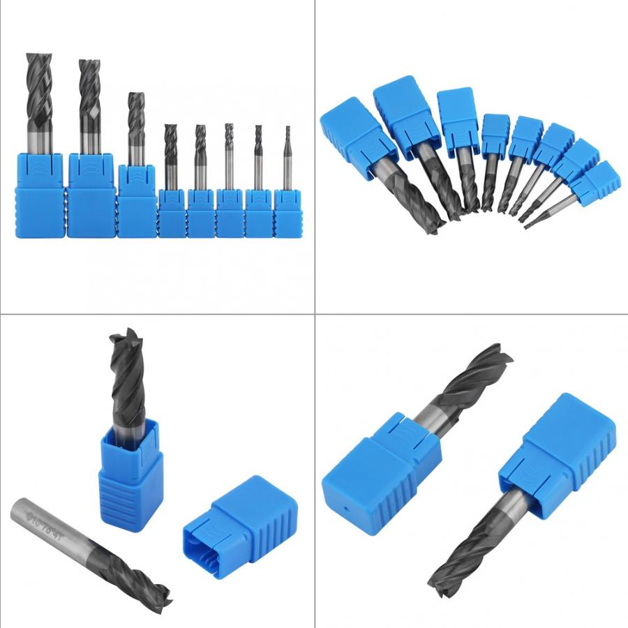 8pcs Tungsten Steel Milling Cutter Tool Kit 4 blades 212mm Flutes Carbide End Mill