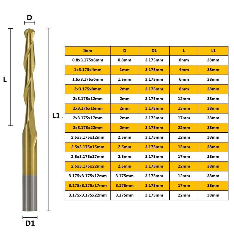 Titaniumplated 3175mm Shank Diameter Spiral Ballend Milling Cutter 10 Pcs Router Bit Engraving Bit Cutter Spiral CNC