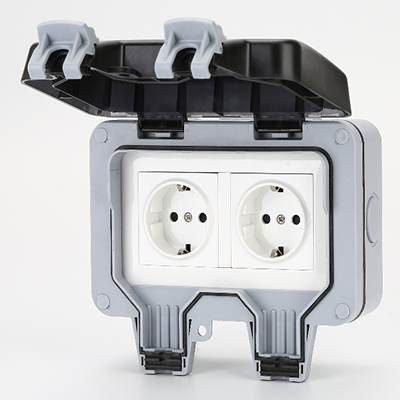 MP22G IP66 German Type Outdoor Electrical Water Switch Socket Plastic Enclosure