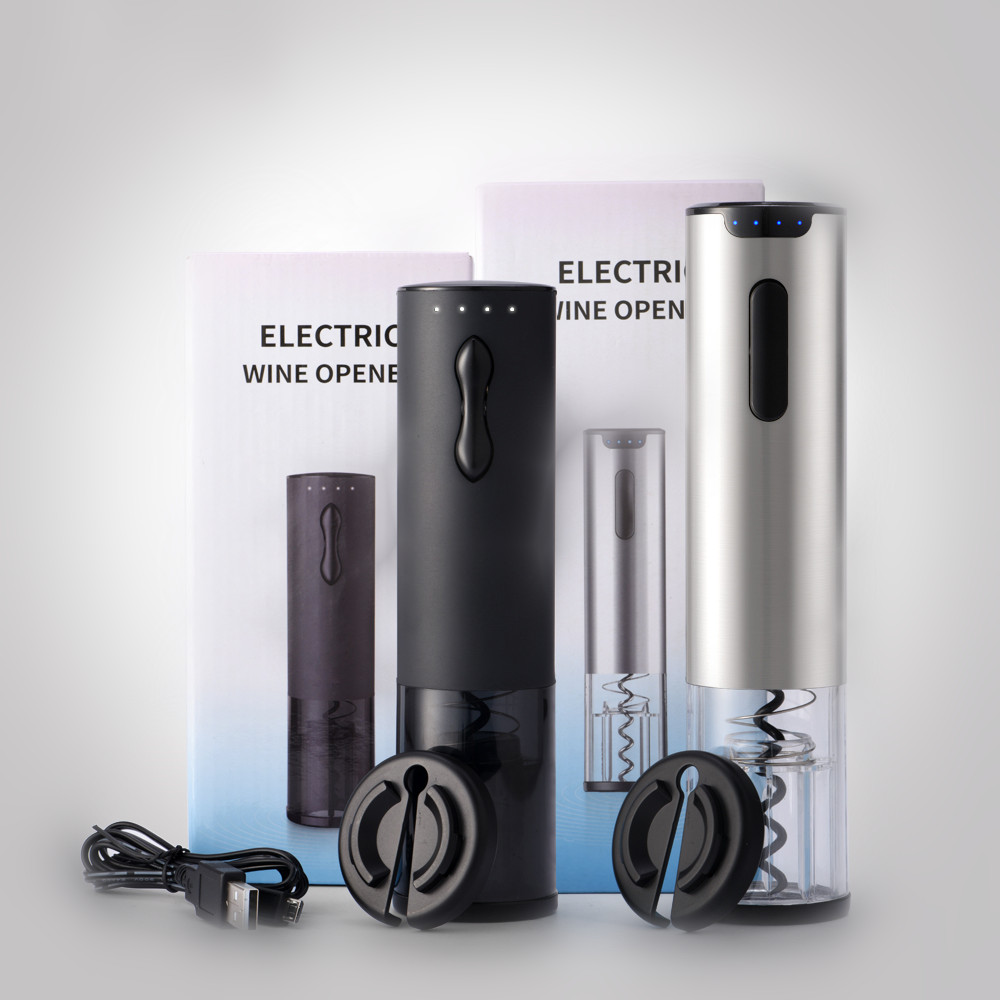 Custom Logo Stainless Steel USB Charging Auto Electric Wine Opener with Foil Cutter