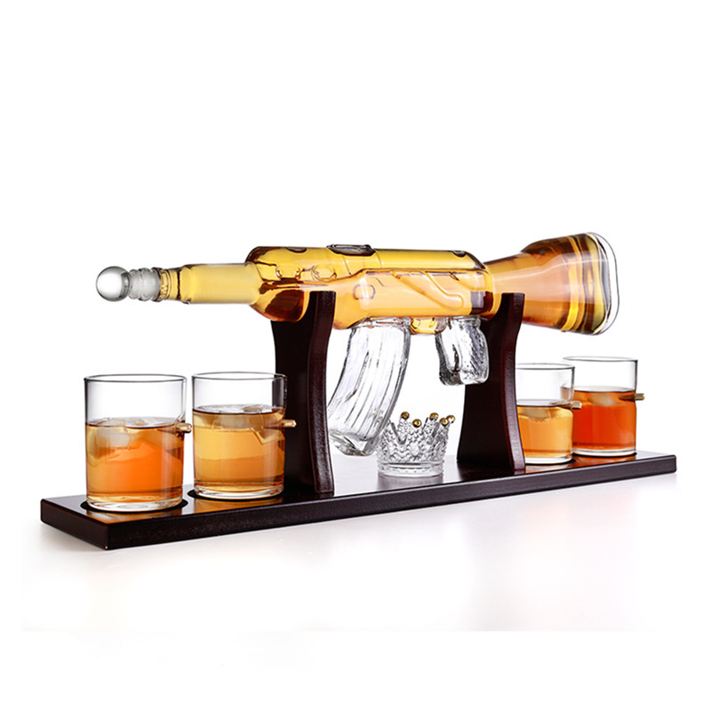 800ml Drinking Vessel Pyrex Glass Crystal Gun Shape BottleWhiskey Decanter