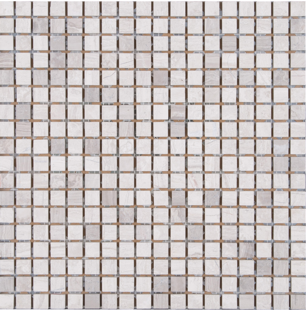 4mm Wooden Matt White Grey 15x15 Marble Mosaic for Wall & Floor