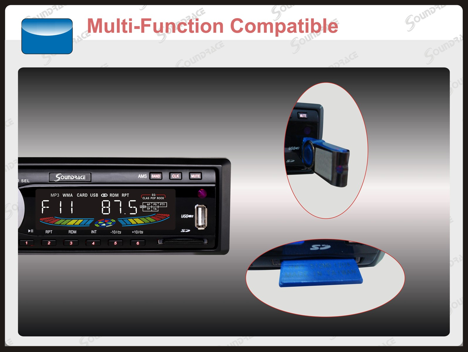 New Dual USB Car MP3 Player Model SR2218 from Soundrace