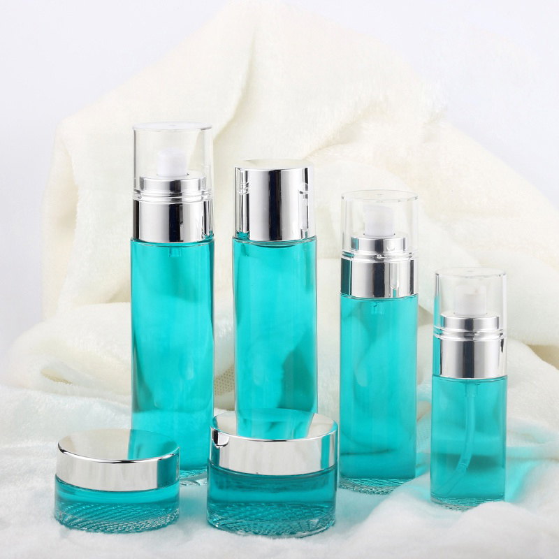 Fashionable 120Ml 80Ml Green Round Cosmetic Bottle & Lotion Jar Set