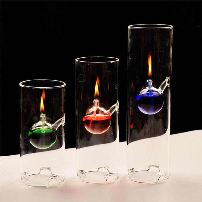 Transparent Glass Oil Lamp Wedding Gift Cylinder Shaped Glass Lamp Decoration Diameter=8cm Three Different Height