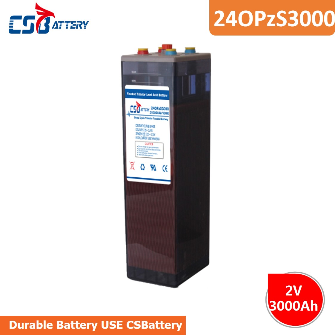Csbattery 2V3000ah Flooded-Tubular Opzs Battery for Sufficient-Capacity/PV-Solar-Inverter/Solar-Accumulator/Backup-Power