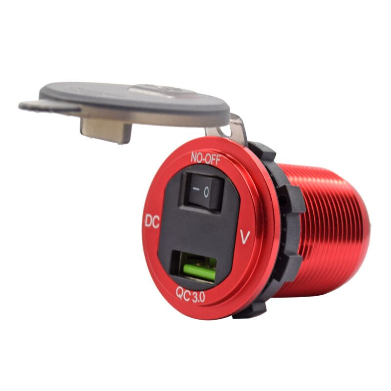 12V/24V Waterproof QC3.0 USB Car Charger with Voltmeter & on/off Switch for Car Boat Motorcycle Marine