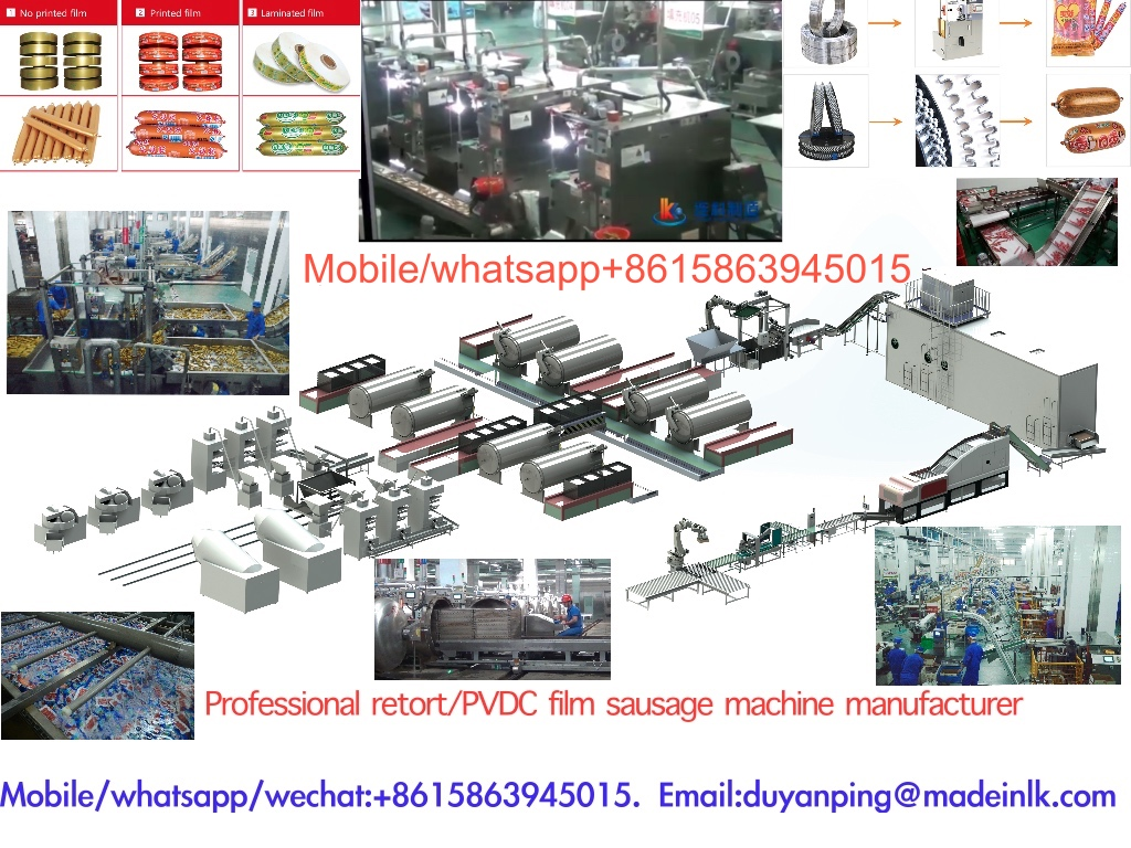 PVDC Film Retort Sausage Processing Line & Ham Sausage Making Machine-Mobile/Whatsapp/Wechat+8615863945015