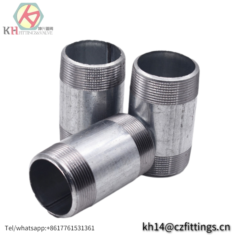 Galvanized Malleable Iron Nipple ASTM A106 / Carbon Steel Barrel Nipple