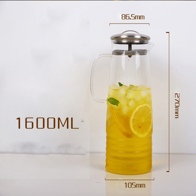 Heat Resistant Glass Pitcher Kettle Glass Water Pitcher with 304 Stainless Steel Lid for Hot/Cold Water Juice Ice